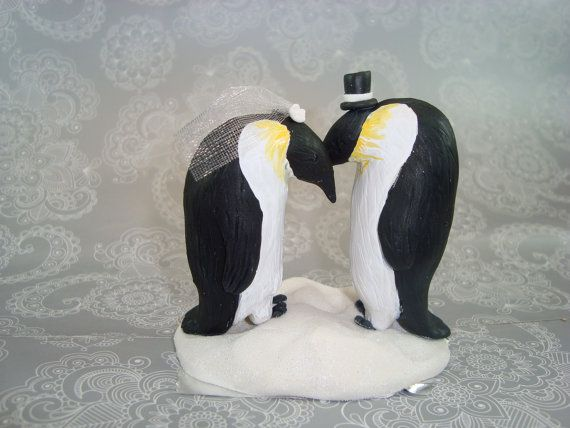 Custom Handmade Penguin Wedding Cake Topper by AnimalCakeToppers, $75.00
