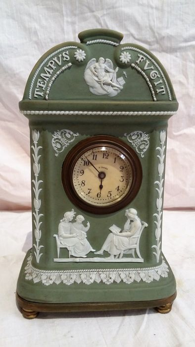 A Wedgwood green jasperware clock - England - late 19th/early 20th century