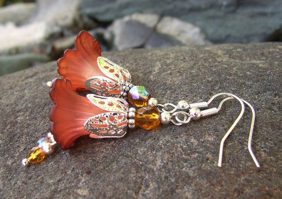 Lucite Lily Flower Earrings  Gypsy Spell  by whiteravendesignsau, $22.50