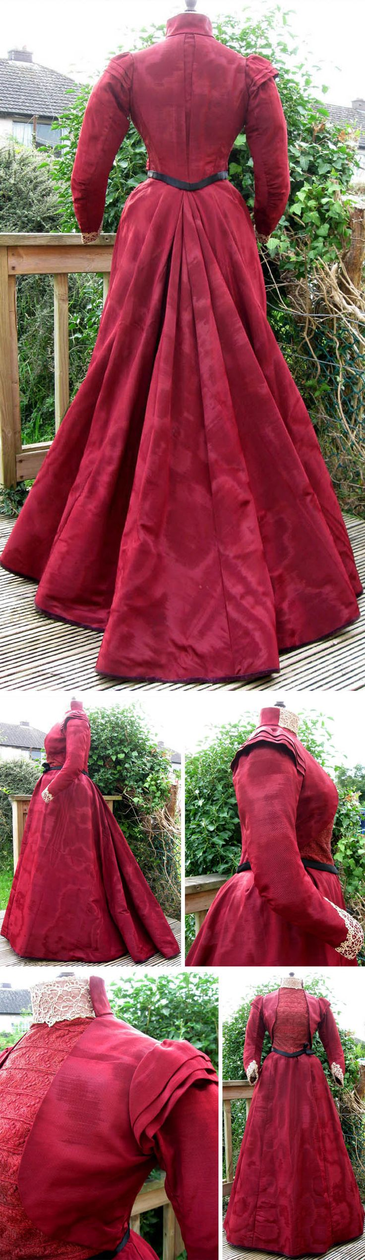 Burgundy-colored silk moiré winter walking or reception/day dress, ca. 1891-95. madaboutfans/ebay