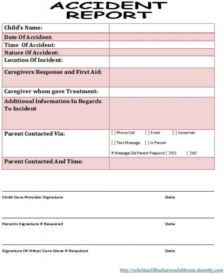 12 best Infant, Toddler \ Preschool Daily Report Templates images - free printable incident reports