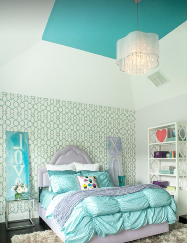 435 best teen bedrooms images on pinterest girls bedroom for Green bedroom wallpaper