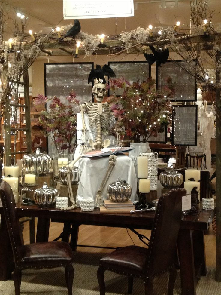 pottery barn halloween window display - Halloween Display Ideas