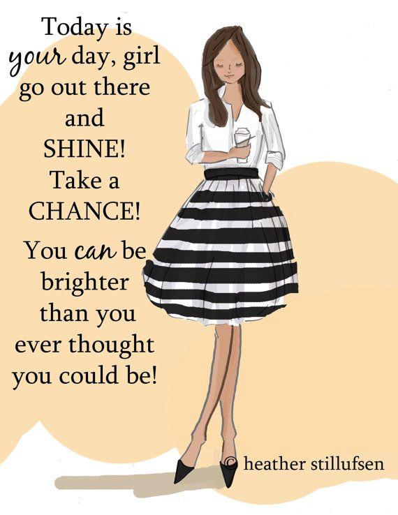 Pared arte para las mujeres - hoy es tu día para Shine - pared Art Print - impresión Arte Digital - arte de la pared--impresión