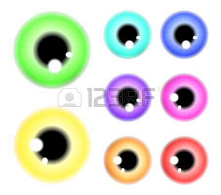 Set of  pupil of the eye, eye ball, iris eye. Realistic vector illustration isolated on white background.