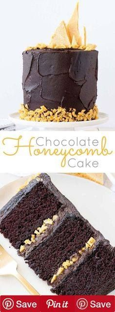 The ultimate dark chocolate cake layered with a rich fudge frosting and homemade honeycomb
