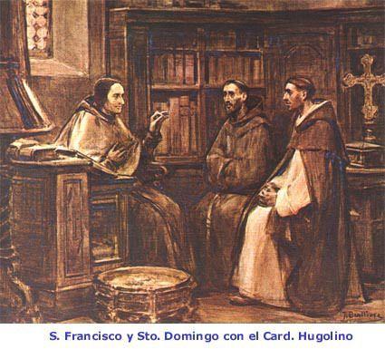 Se conocieron por la primera vez Santo Domingo y San Francisco, y estrecharon aquella santa hermandad que comunicaron los Santos Patriarcas a sus hijos, en tanto bien y provecho de la Iglesia.