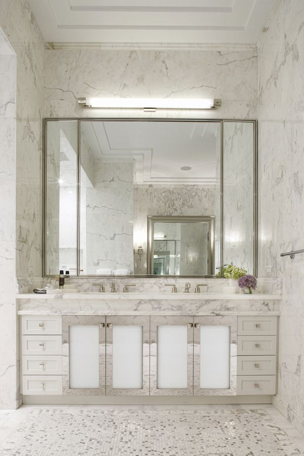 Waterworks Bath In Walker Tower NYC (Henry Fittings) White Marble Bathroom