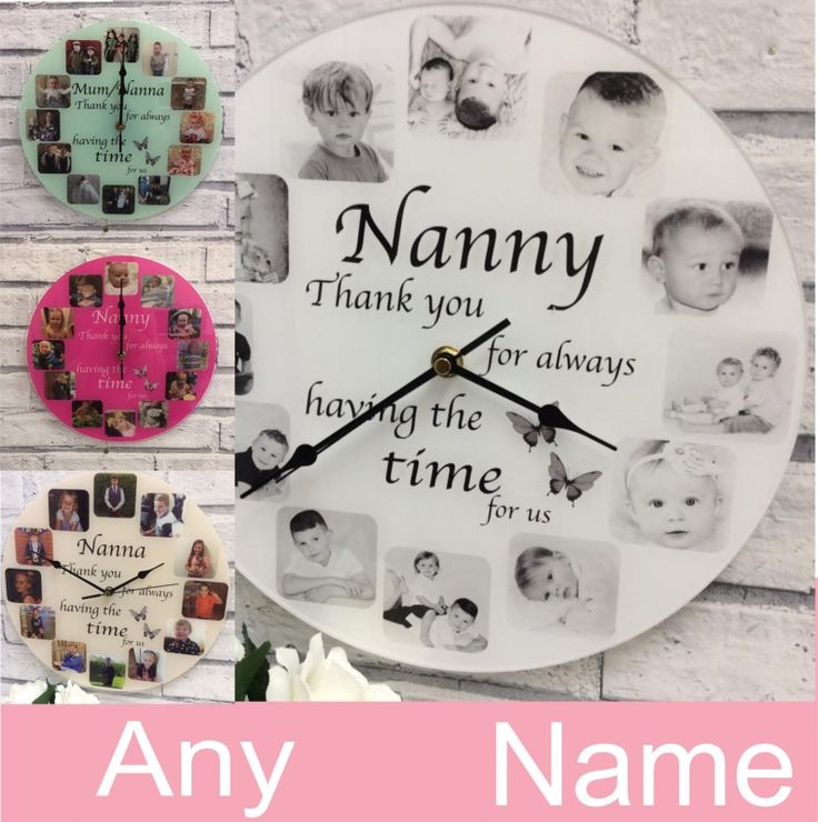 Personalised 12 Photo Clock. Our personalised clocks have the 'WOW' factor and are even more stunning in real life! Clocks are Approx 30cm x 30cm diameter, with a working clock mechanism and antique style hands, printed onto a 3mm acrylic, using top of the range photo printers to ensure maximum photo quality. (Clocks take one AA battery, battery not included)