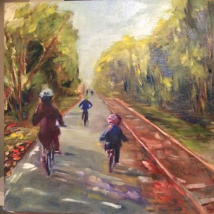 My niece Ellie and nephews, Greg and Mal on the newly opened cycle way near Moate, Co Westmeath.  Oil on canvas.