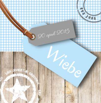 Geboortekaartje Wiebe   Blijkaartje.nl Hout, ruit, label, stempel, jongen