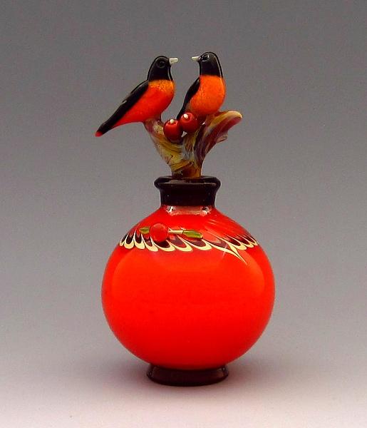 Oriole Pair art glass perfume bottle by Chris Pantos.