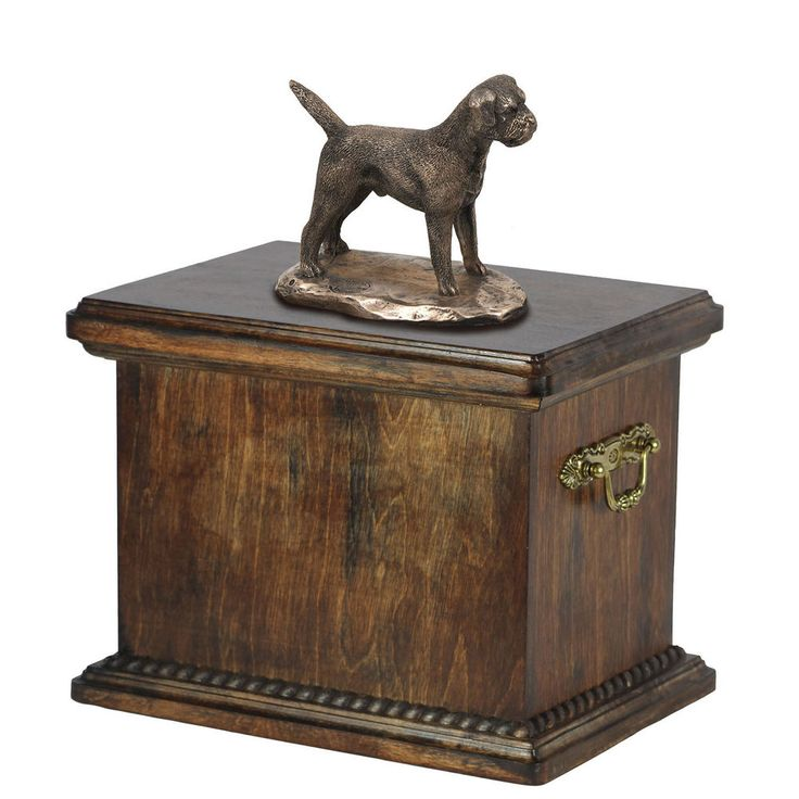 Solid Wood Casket Border Terrier Memorial Urn for Dog s ashes,with Dog statue.