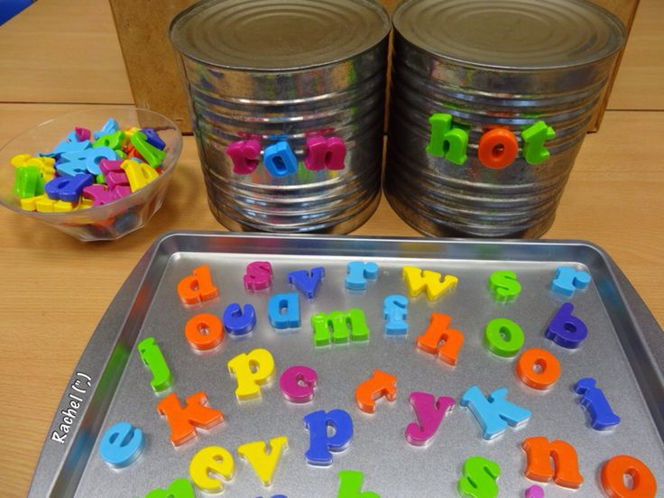 "cvc words with magnetic letters on tin cans - from Rachel ("",)"