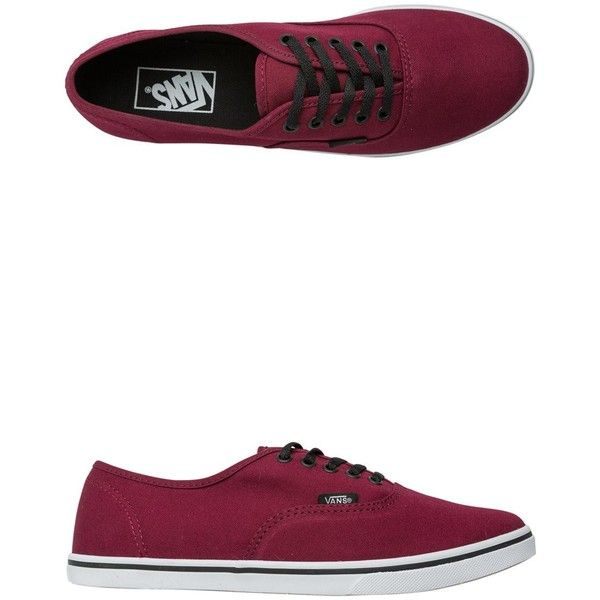 Vans Authentic Lo Pro Shoe ($45) ❤ liked on Polyvore featuring shoes, sneakers, red, lace up sneakers, vans shoes, low tops, low top sneakers and waffle shoes