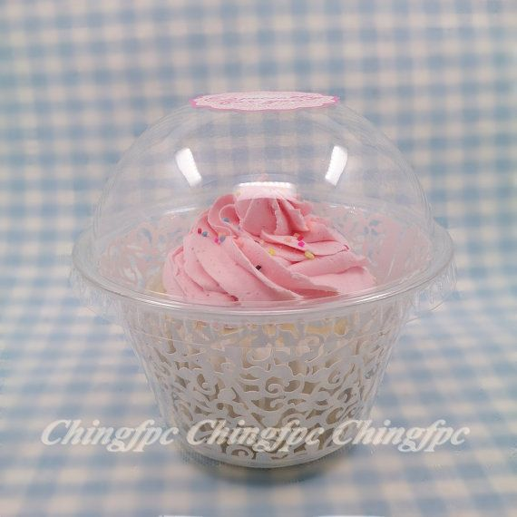 50 Sets Clear Closed Dome Top Plastic Cupcake Containers Holders Case Boxes   _cb4 on Etsy, $14.80