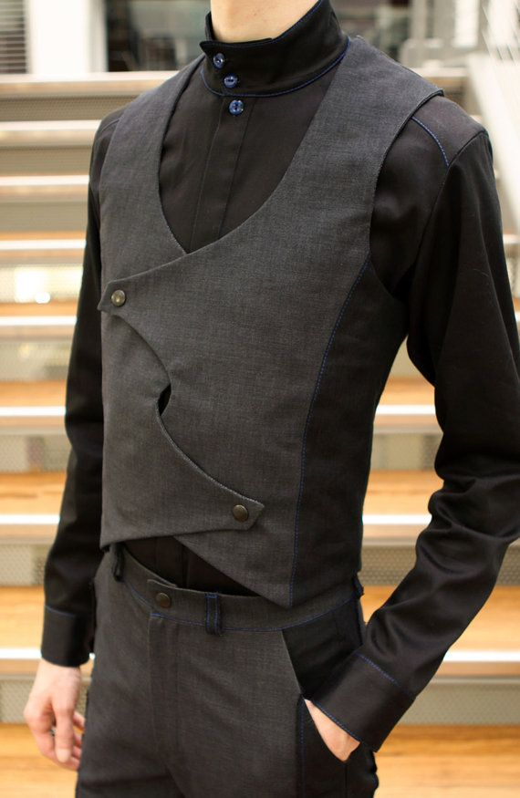 Men's Charcoal Twill & Linen Crossfront Vest by TheKingOfSpades, $125.00