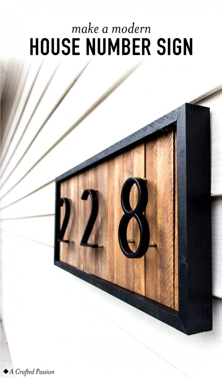 Diy a modern house number sign with wood shims to improve your curb appeal this unique address plaque is simple to make and looks great