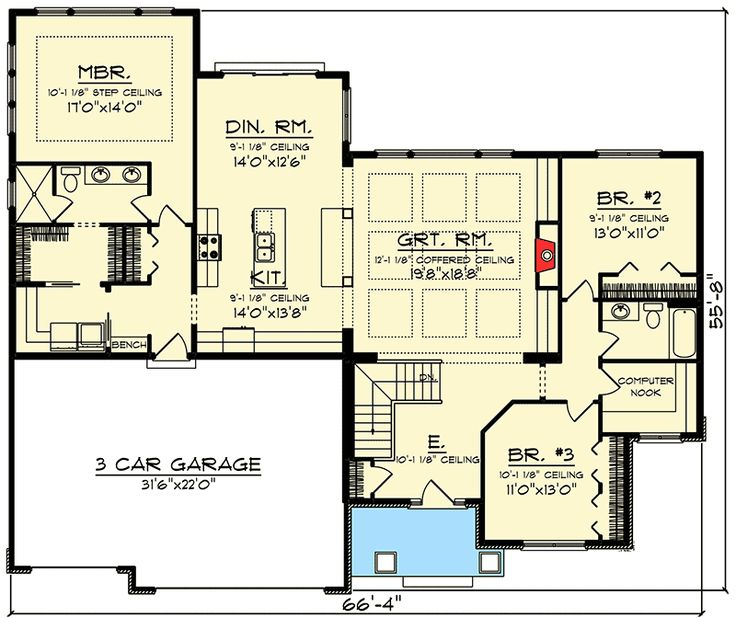 Best 20 craftsman style home plans ideas on pinterest for Split bedroom floor plans