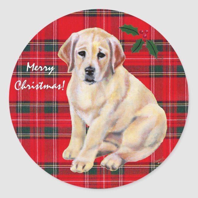 Corgi Puppy Christmas Countdown 2020 Christmas Yellow Labrador Puppy Tartan Classic Round Sticker