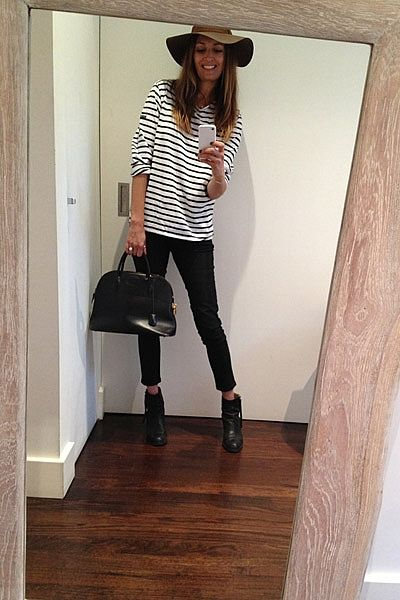 """Stripes today! Wearing my favourite fedora hat, St. James tee, DL1961 coated jeans, Hermes Bugatti bag and Acne Pistol boots."""