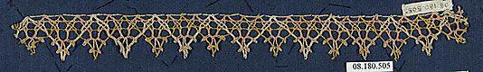 Fragment of lace, (gold-thread?) bobbin lace, 16th century, Italian. Metropolitan Museum of Arts accession no. 08.180.505