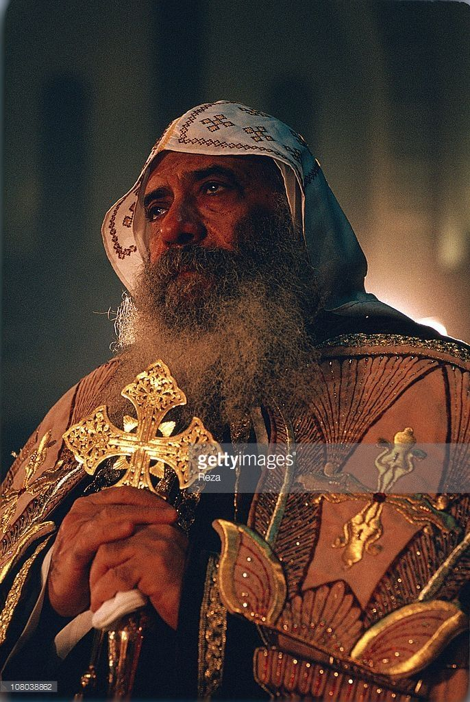 Pope Shenouda III in prayer during the Coptic Christmas ceremony, celebrated in the Cathedral of St Mark in Cairo on the night of 6th to 7th January, in accordance with the Julian calendar.