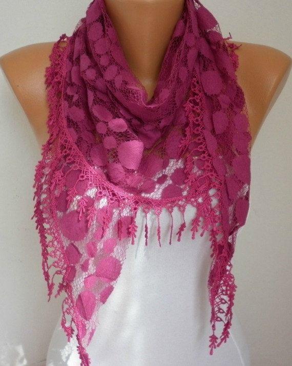 Lace Scarf   scarf shawl     Free scarf  Fuchsia  by anils on Etsy, $18.00