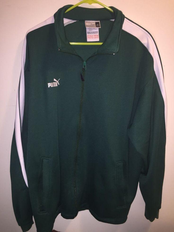 VTG 80's/ 90's Puma Jacket SZ XL Green White Sweat coat zippered  | eBay