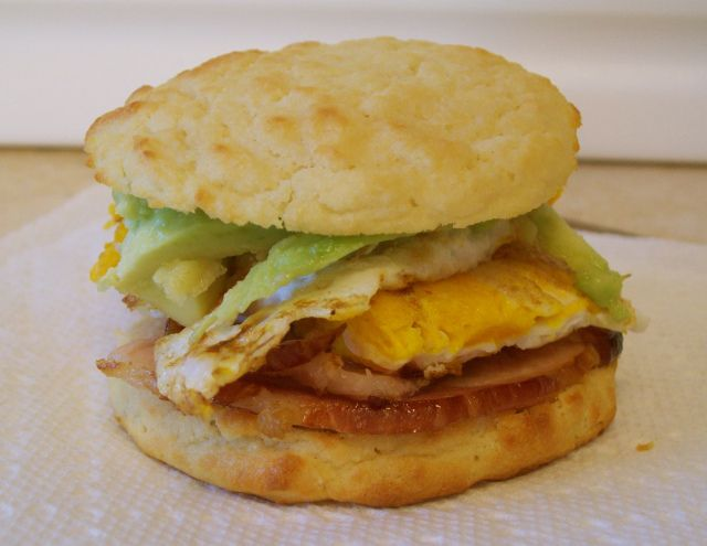 Ham, Avocado and Egg Breakfast Sandwich made w/ The Perfect Paleo Biscuit  @Jackie Gregory Living Healthy