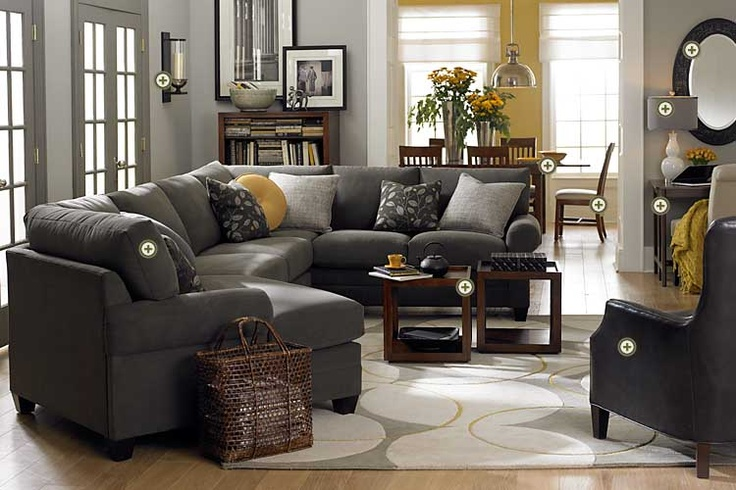 Gray yellow the it colors really like the contrast - Living room color schemes grey couch ...