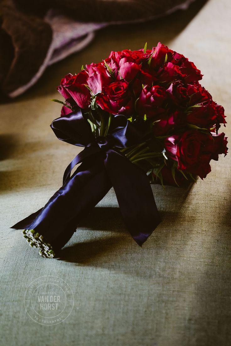 Red Rose Wedding Flower Bouquet with Black Ribbon  www.marcelvanderhorstphotographer.com
