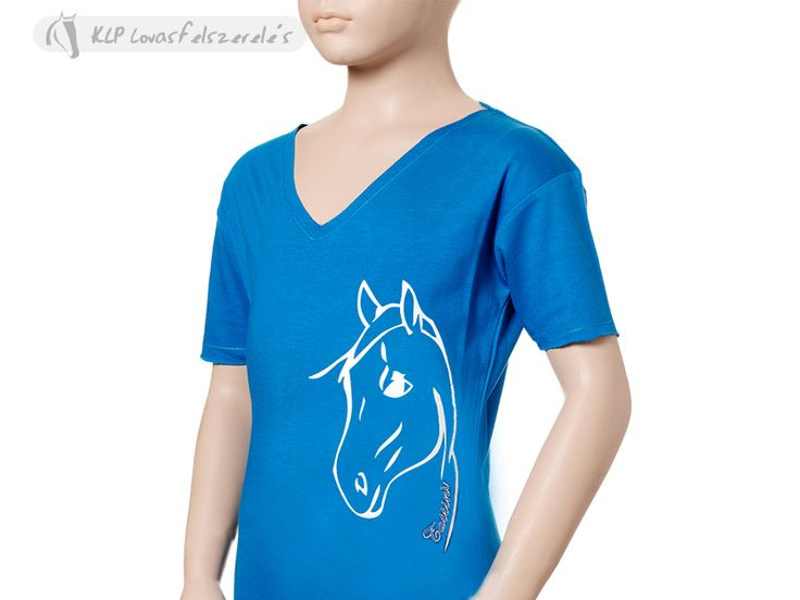 Tattini Girls V Neck T-shirt - Lightweight and comfortable 160 gr bio-washed (blended yarn) jersey cotton and spandex stretch. Lovely V-neck and close fitting, it's embellished with a white horse print.