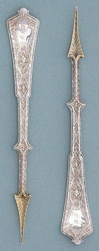 Tiffany 'Persian' Pattern Sterling Silver Nut Picks, c. 1872