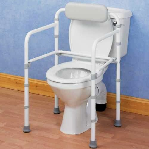 This Toilet Surround Rail Is Height Adjustable And Can Be Easily Folded  Flat For Storage Or Transport. The Rail Has Non Slip Rubber Feet, And A  Padded Back ...
