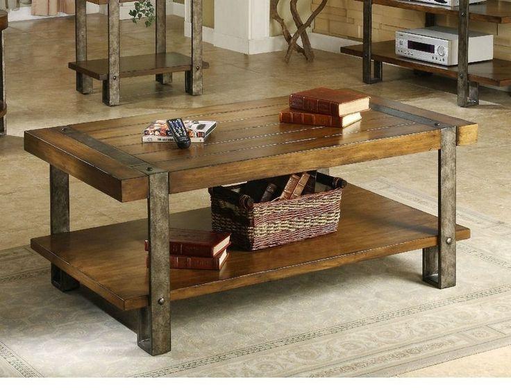 Industrial Coffee Table Oak Living Room Furniture Metal Base Rustic Vintage  Home