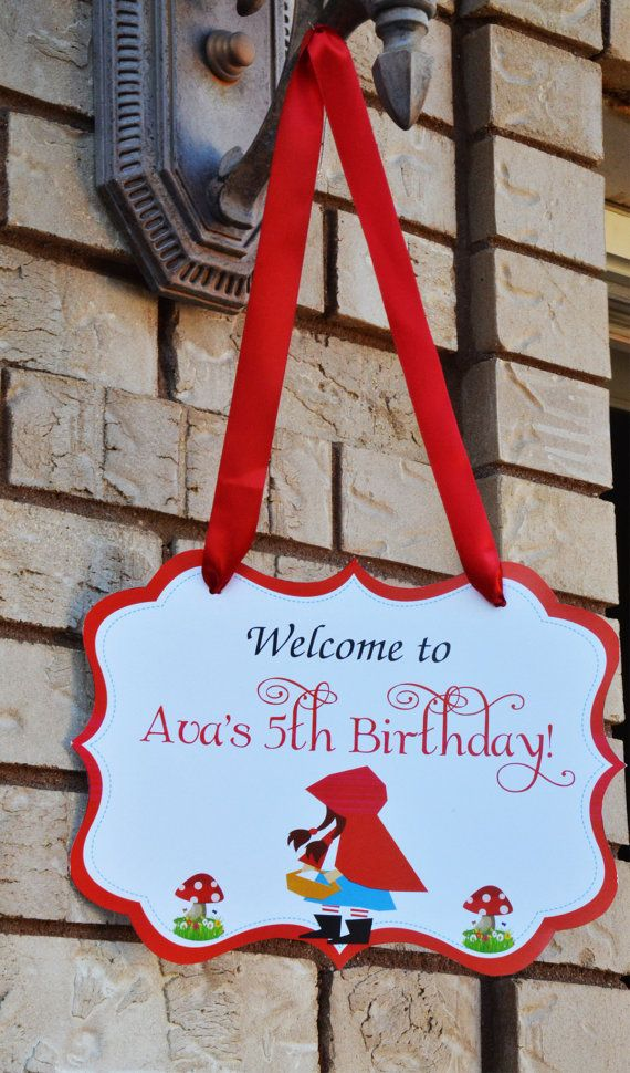 Little Red Riding Hood Birthday Door sign by Bluesugarpress, $5.00
