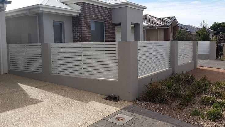 Rendered Blueboard Fence With Aluminium Slats Glenelg Sa