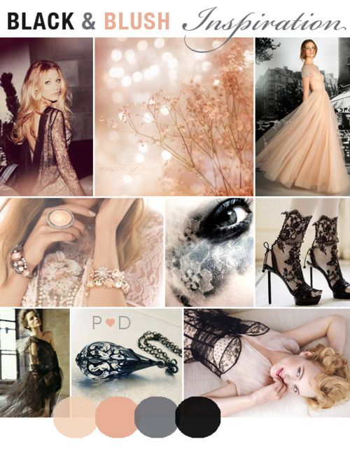 black lace + blush... These may be my wedding colors
