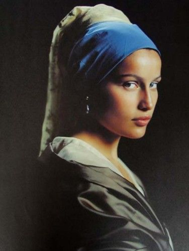 "Model/actress Laetitia Casta as the ""Girl With a Pearl Earring"" (Johannes Vermeer) by photographer Friedemann Hauss for French ELLE, December 1998. #Portrait #Photography"