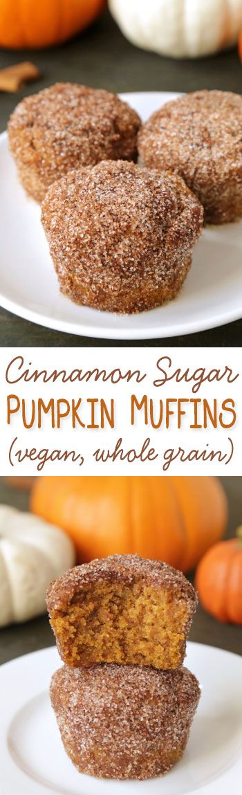 Cinnamon sugar pumpkin muffins lightly sweetened with maple syrup {vegan, dairy-free, and 100% whole wheat}