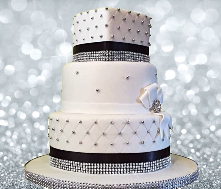 3 tier wedding cake with quilting and bling