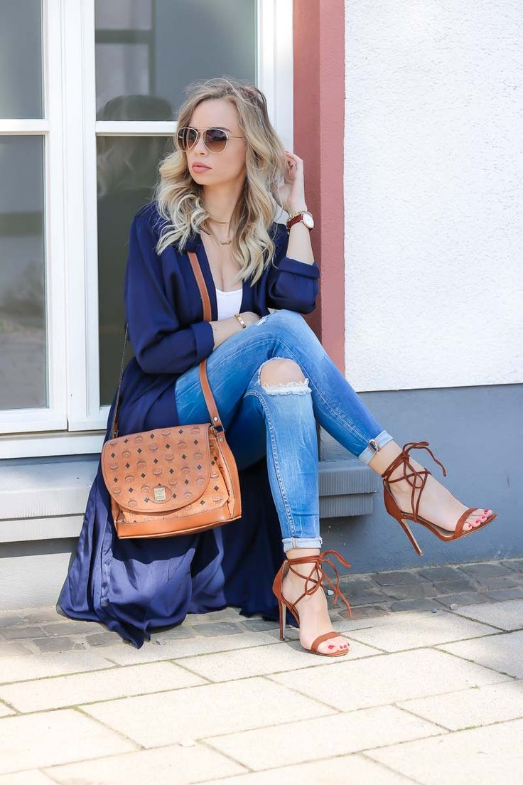 Trench Dressing Outfit w/ kimono trench coat, perfect style for spring into summer season, outfit of the day, look, Summer outfit, Spring outfit, MCM Bag, Lace up Heels,   Zara Jeans