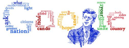 Google Doodle celebrating the 50th anniversary of President Kennedy's famous inaugural speech.