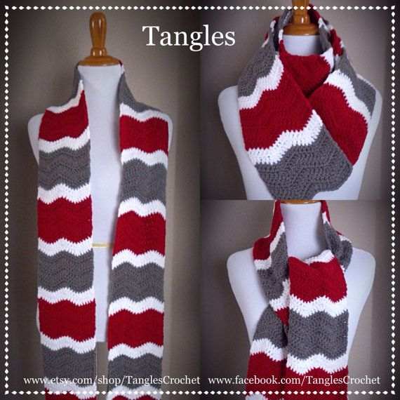 Extra Long Scarf Ohio State Colors Super Scarf by TanglesCrochet