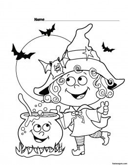 halloween witch printable coloring pages for kids printable coloring pages for kids - Cute Halloween Bat Coloring Pages