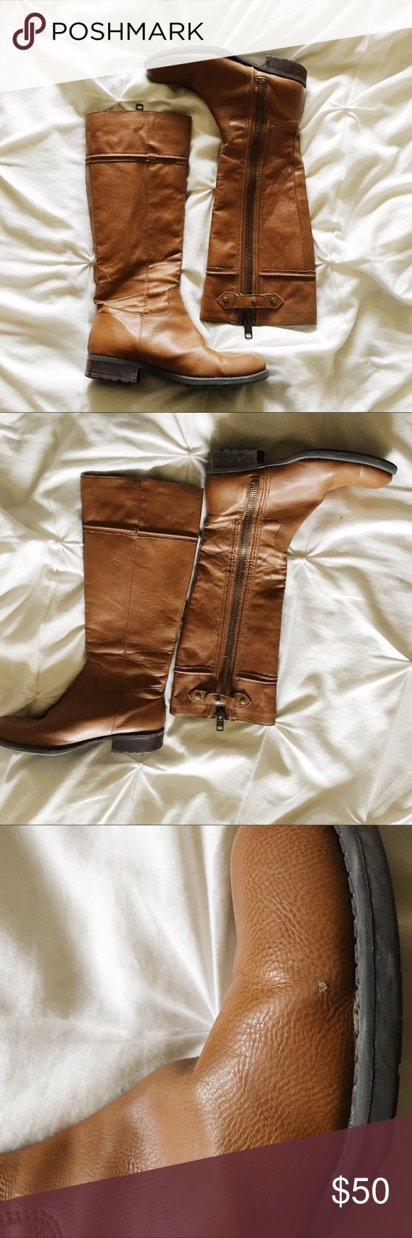 """Franco Sarto camel riding boots These versatile knee high boots belong in every closet. Good used condition - the soles and heels are in great shape but they have a manmade upper and the lining does get loose strings that have to be clipped from time to time. 15"""" calf circumference. No box or bag, smoke and pet free home. Franco Sarto Shoes"""