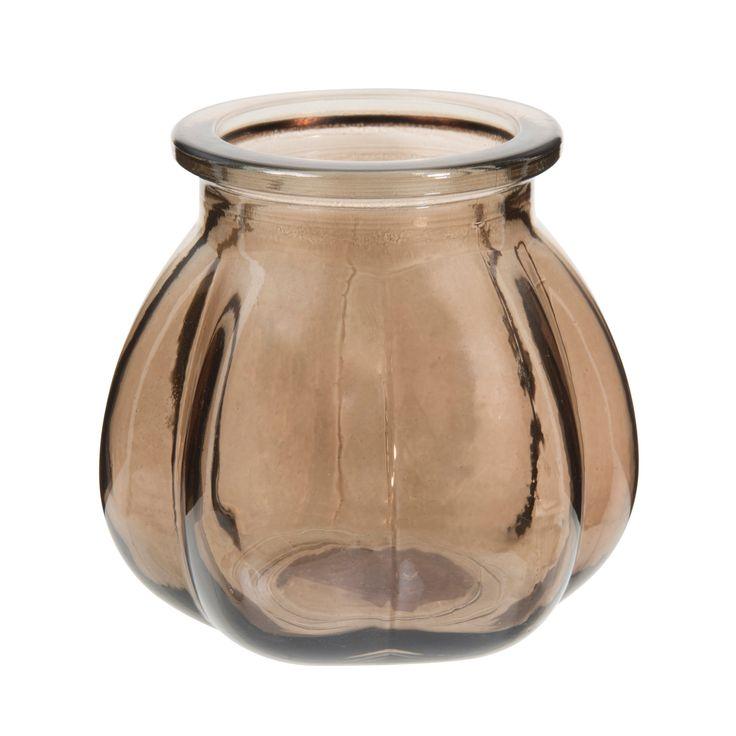 Vase en verre marron H 11 cm CITROUILLE