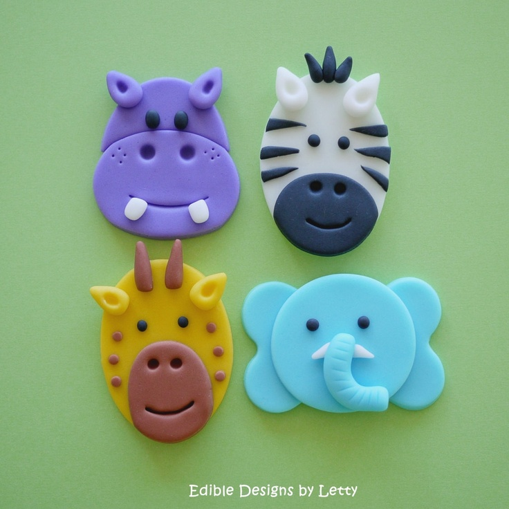 Fondant Jungle Animals Cupcake Toppers