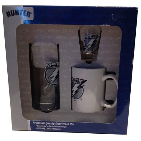 Ensemble 3 pièces du Lightning de Tampa Bay! L'ensemble comprend: une tasse, un buck et un verre à shooter. Autres modèles disponibles.